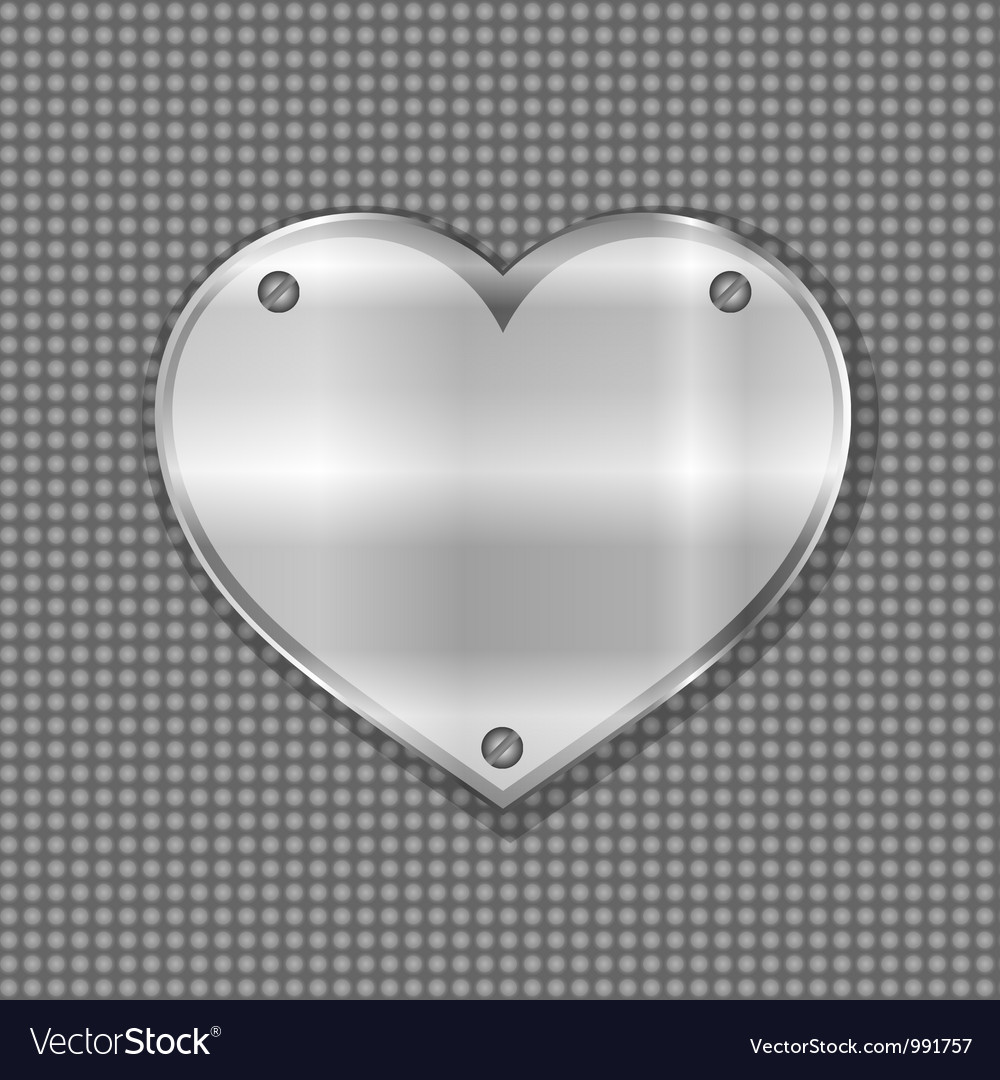 Metal heart label on steel background vector | Price: 1 Credit (USD $1)