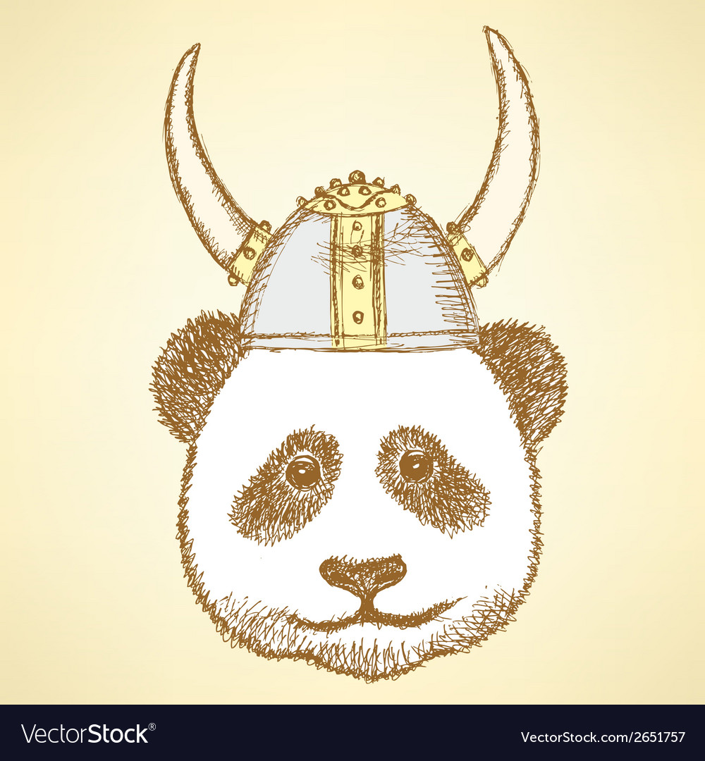 Viking helmet panda vector | Price: 1 Credit (USD $1)