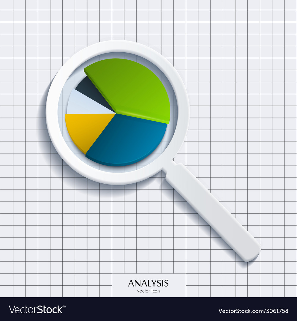 Analysis magnifying glass with business pie vector | Price: 1 Credit (USD $1)