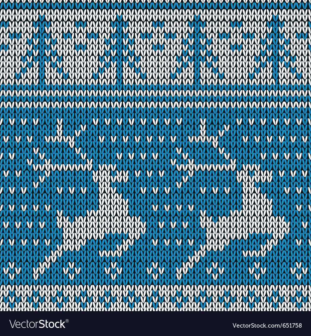Blue knitted background with the deer vector | Price: 1 Credit (USD $1)