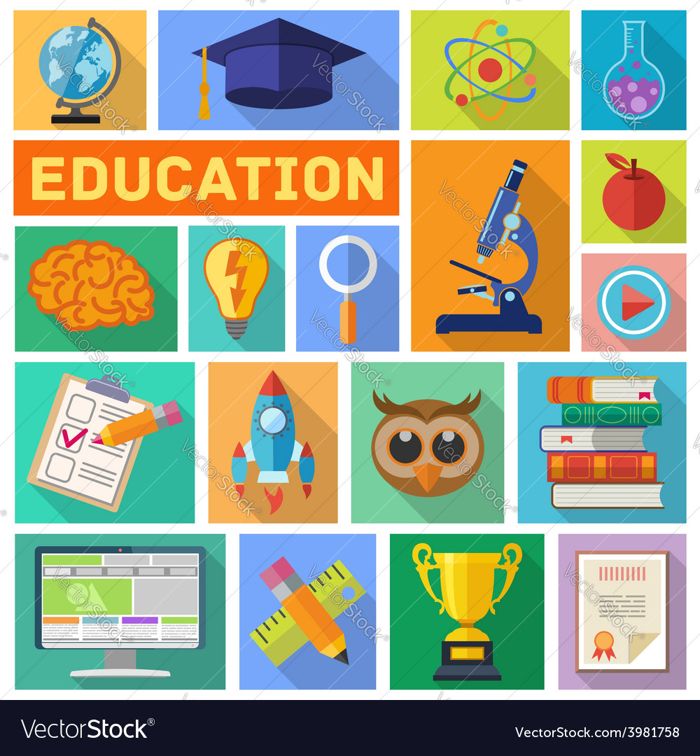 Education flat icon set vector | Price: 1 Credit (USD $1)