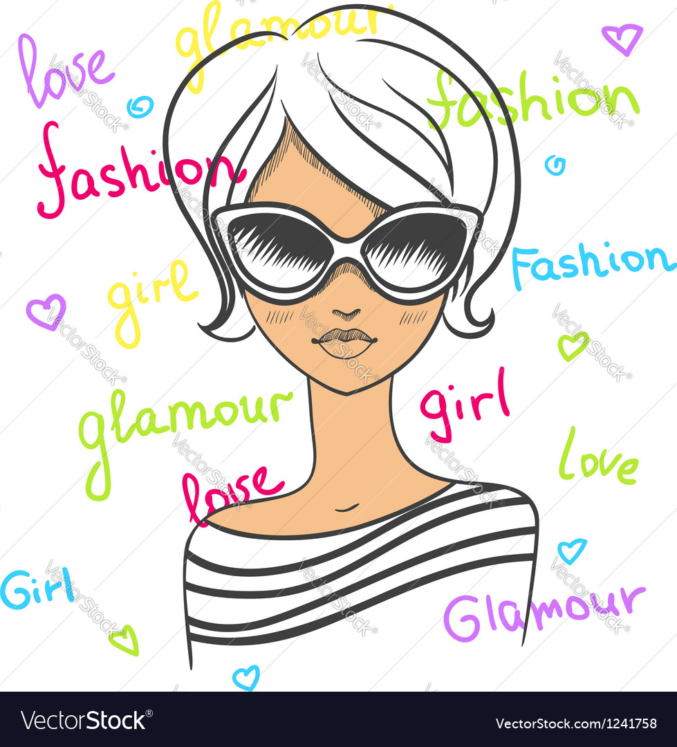 Fashionable girl in sunglasses drawn by hand vector   Price: 1 Credit (USD $1)