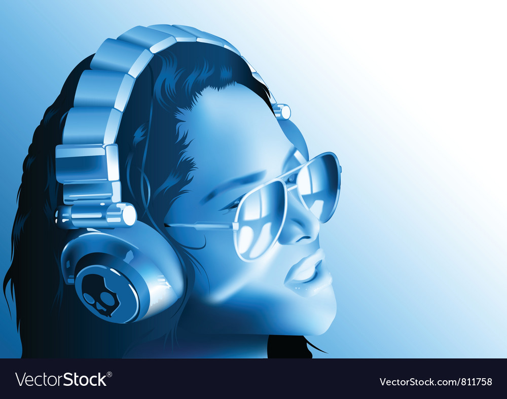 Girl dj with headphones vector | Price: 3 Credit (USD $3)