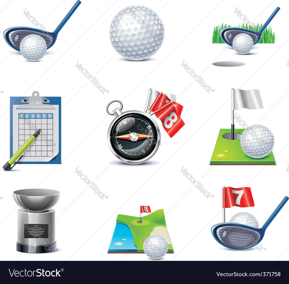 golf icon set vector | Price: 3 Credit (USD $3)