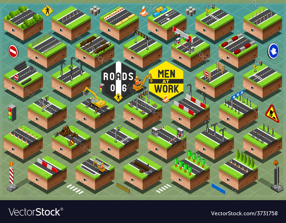 Isometric road signs set on green terrain vector | Price: 1 Credit (USD $1)