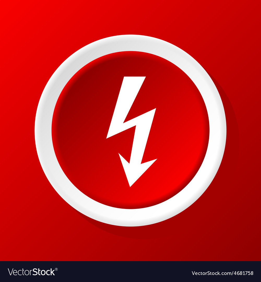 Lightning icon on red vector | Price: 1 Credit (USD $1)