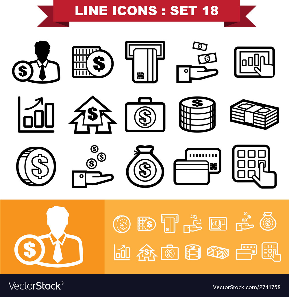 Line icons set 18 vector | Price: 1 Credit (USD $1)