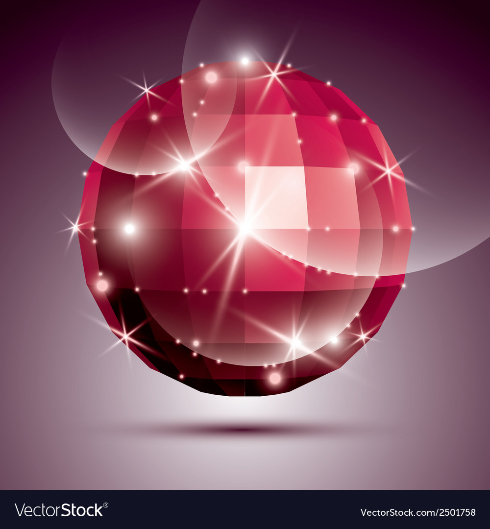 Party dimensional red sparkling disco ball created vector | Price: 1 Credit (USD $1)