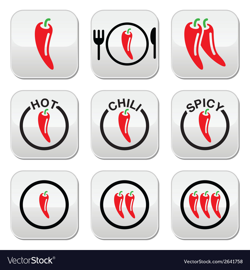 Red hot chili peppers buttons set vector | Price: 1 Credit (USD $1)