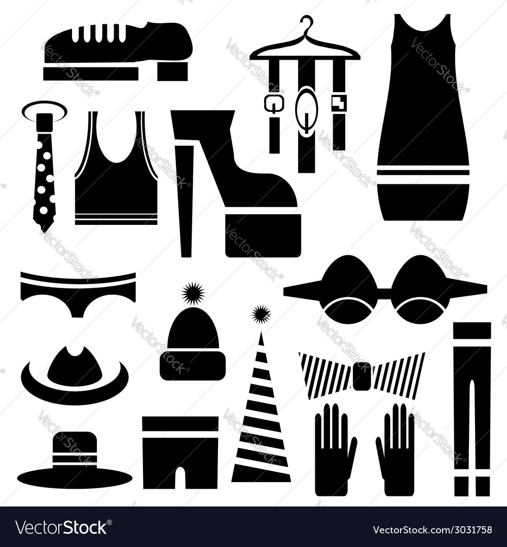 Silhouettes of clothes vector | Price: 1 Credit (USD $1)