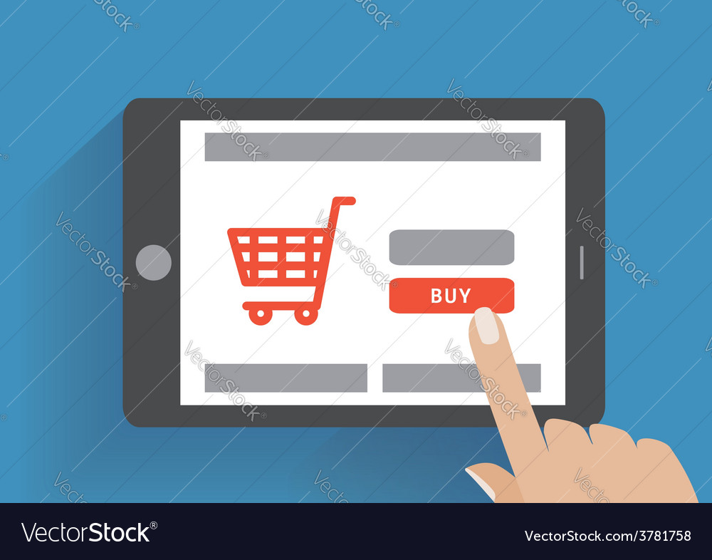 Tablet pc with buy button on the screen online vector | Price: 1 Credit (USD $1)