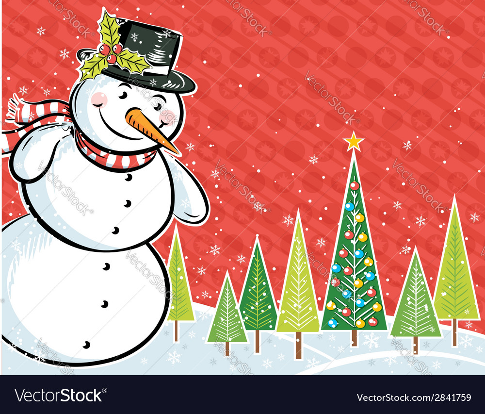 Background with snowman and christmas tree vector | Price: 1 Credit (USD $1)