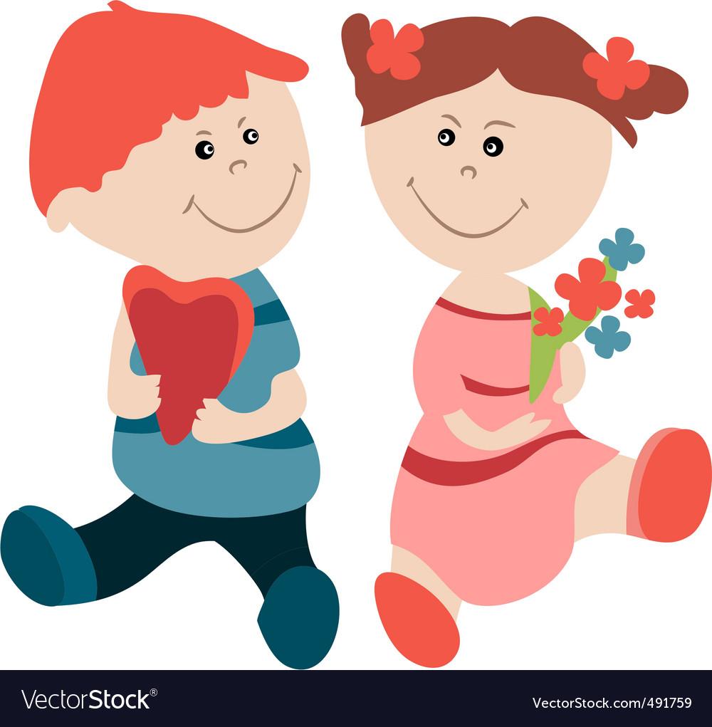 Cartoon girl and boy vector | Price: 1 Credit (USD $1)