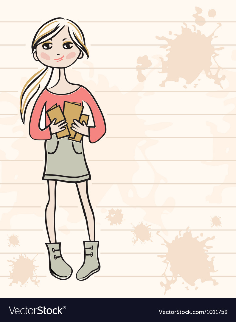 Hand drawn girl with books vector | Price: 1 Credit (USD $1)
