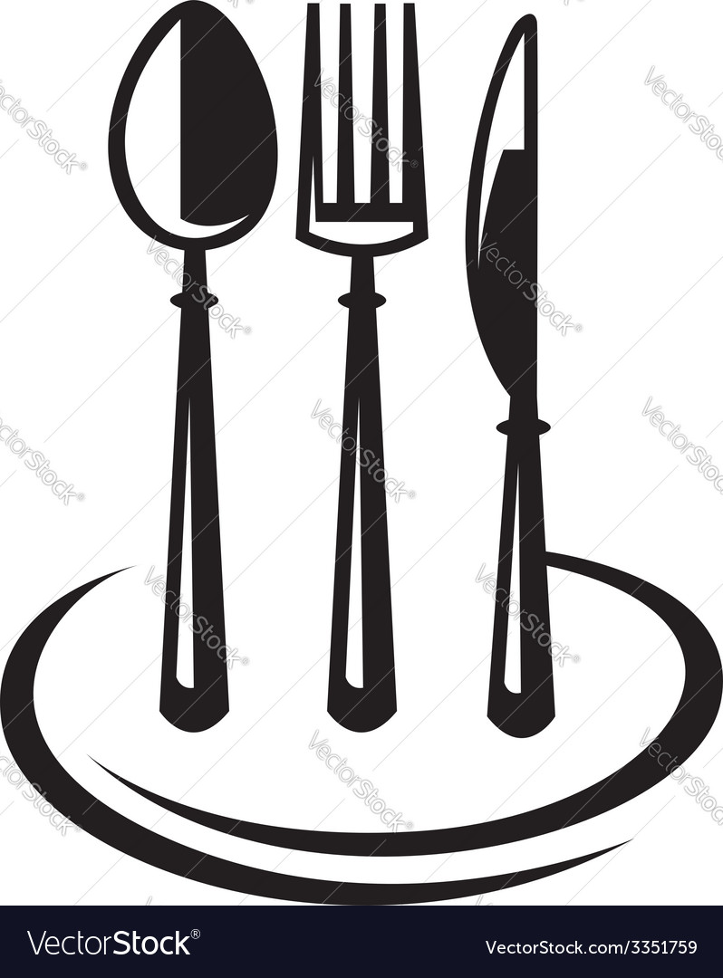 Knife fork spoon and plate vector | Price: 1 Credit (USD $1)