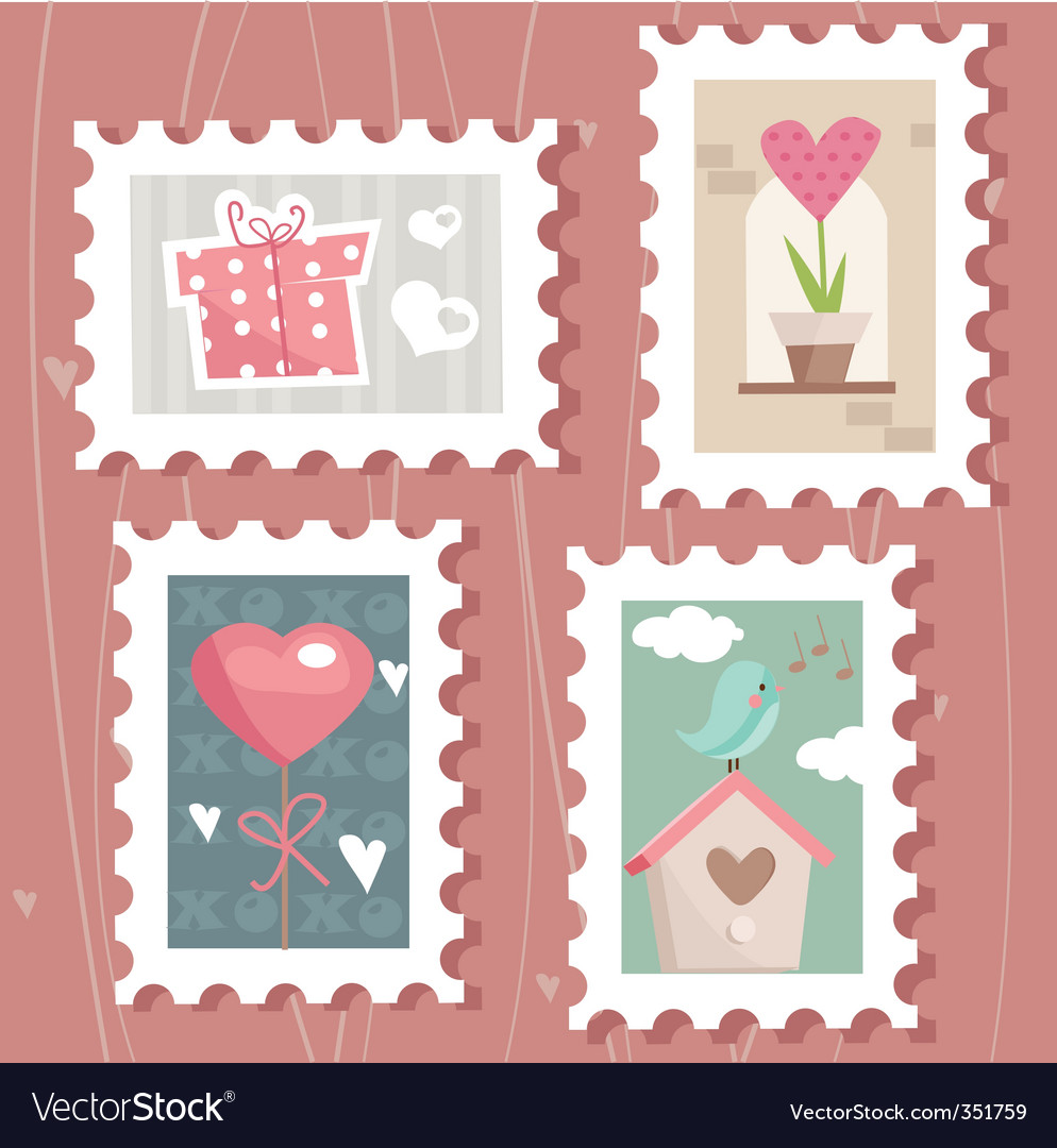 Love stamps vector | Price: 1 Credit (USD $1)