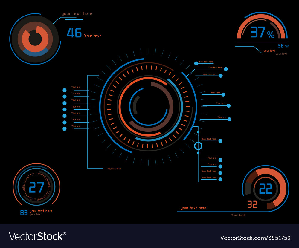 Orange and blue infographics as head-up display vector   Price: 1 Credit (USD $1)