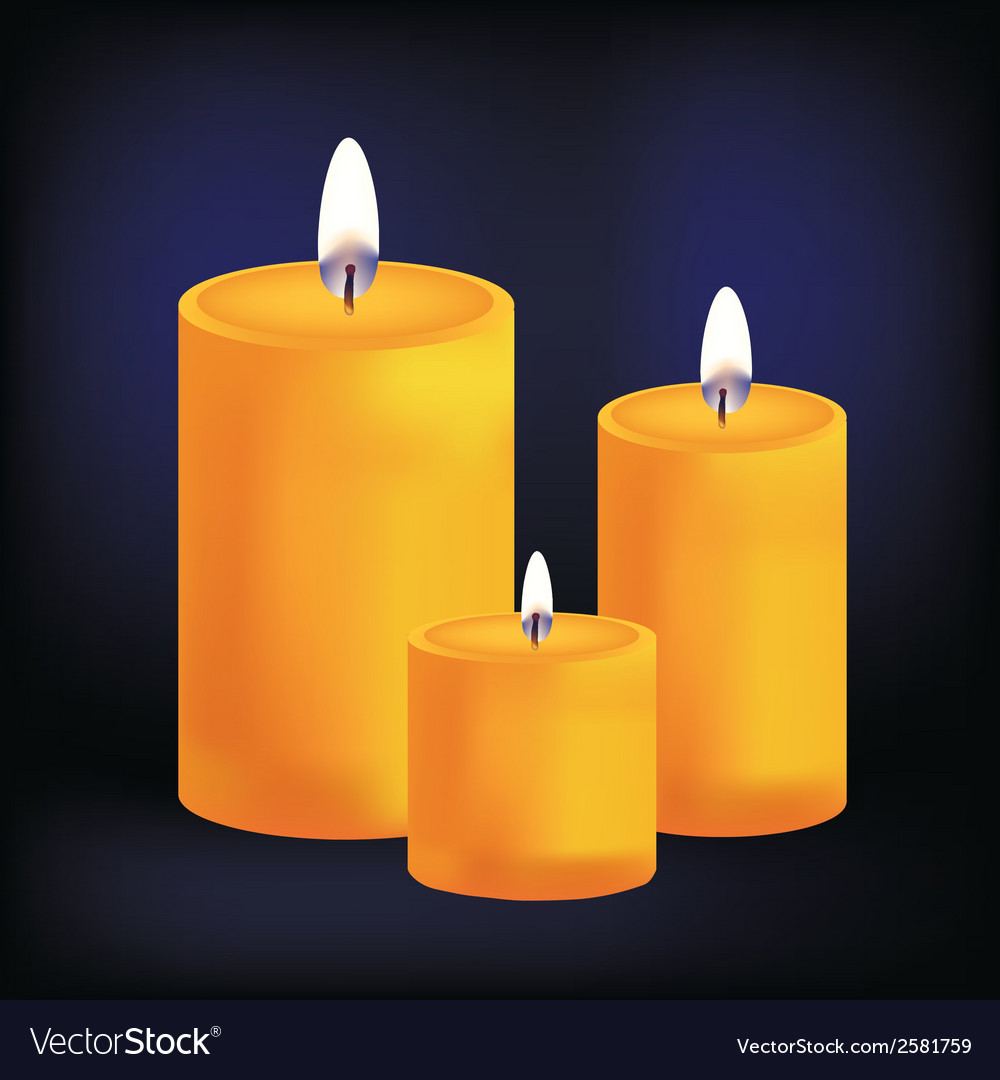 Realistic three yellow candles on dark background vector | Price: 1 Credit (USD $1)