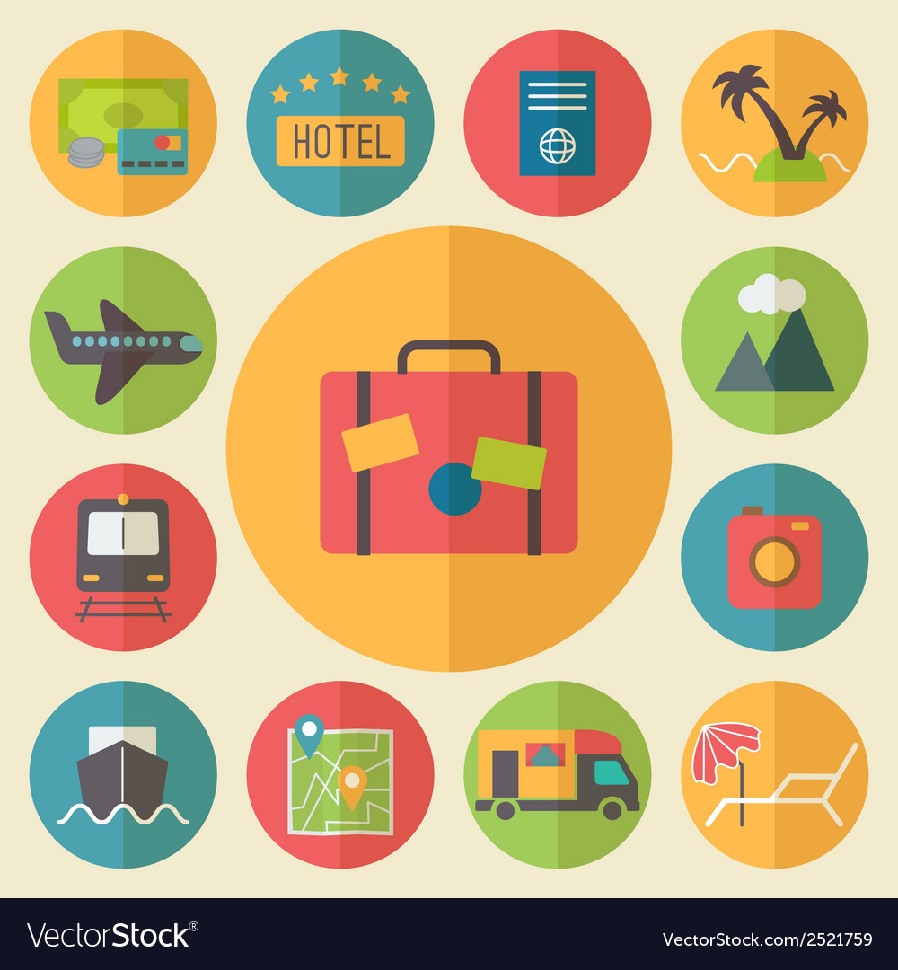 Travel tourism and vacation icons set flat design vector | Price: 1 Credit (USD $1)