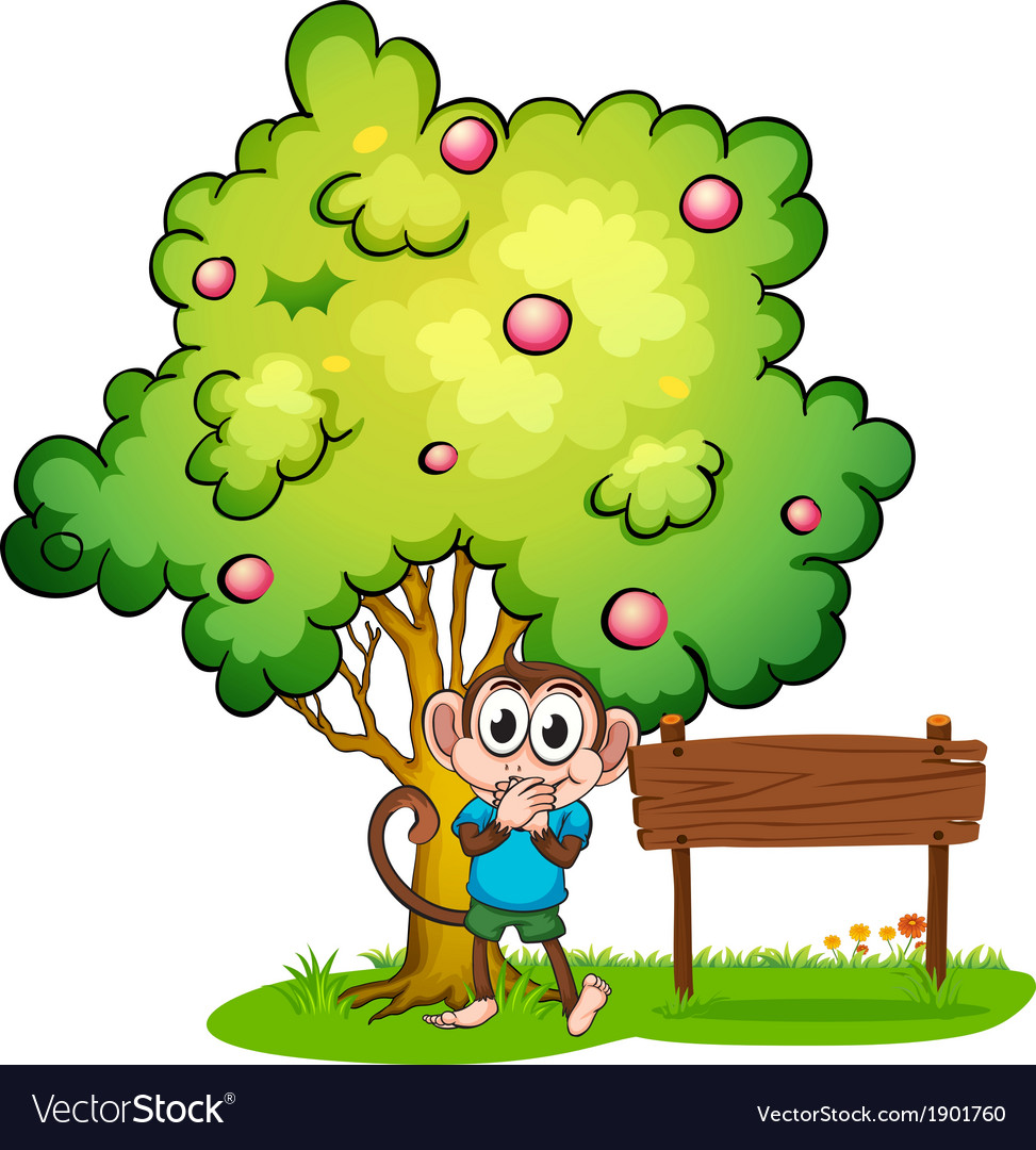 A monkey and an empty signboard under the tree vector | Price: 3 Credit (USD $3)
