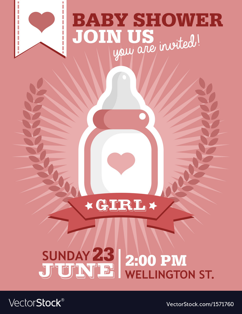 Baby girl bottle invitation vector | Price: 1 Credit (USD $1)