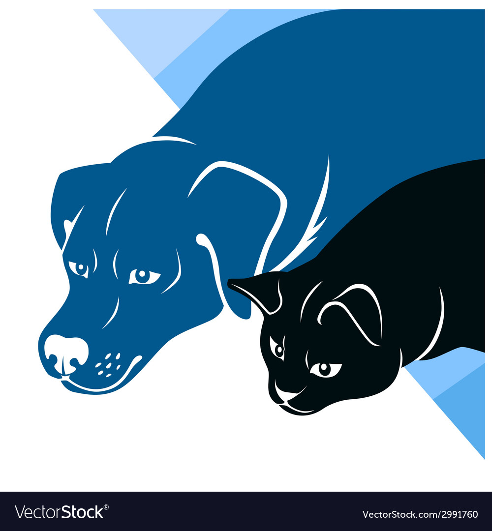 Cat and dog silhouettes corner vector | Price: 1 Credit (USD $1)