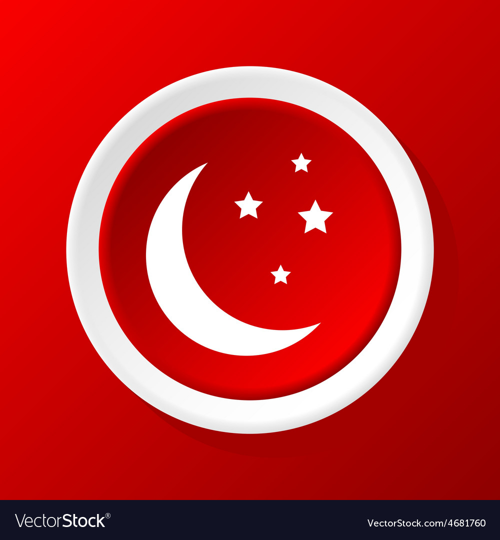 Crescent moon icon on red vector | Price: 1 Credit (USD $1)