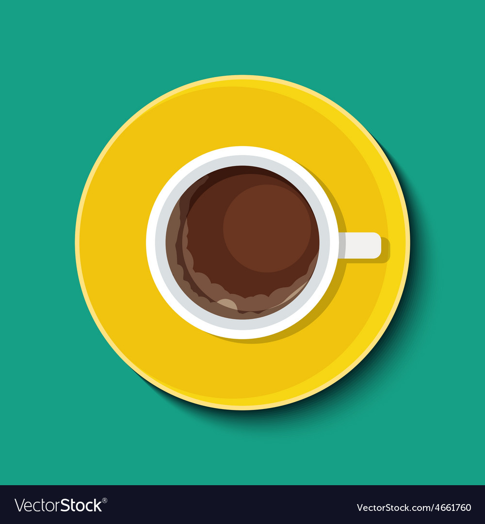 Cup with coffee in flat style top view vector | Price: 1 Credit (USD $1)