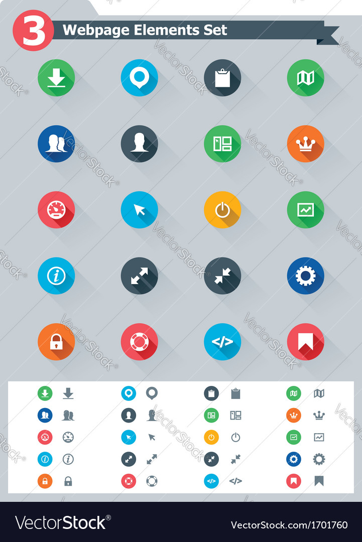 Flat webpage elements icon set vector   Price: 1 Credit (USD $1)