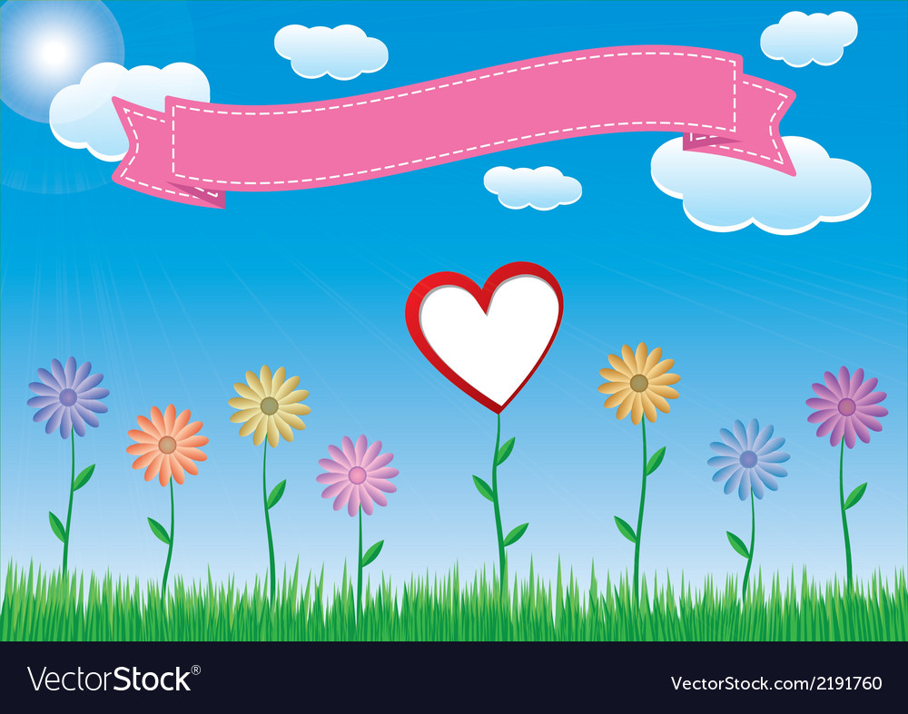 Flower with heart sky and ribbon vector | Price: 1 Credit (USD $1)