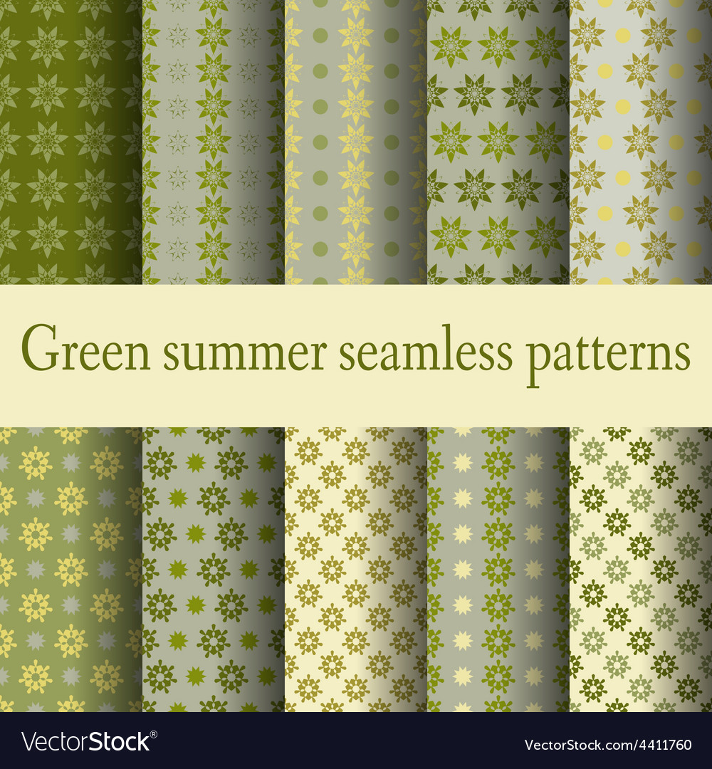 Green summer seamless patterns vector | Price: 1 Credit (USD $1)