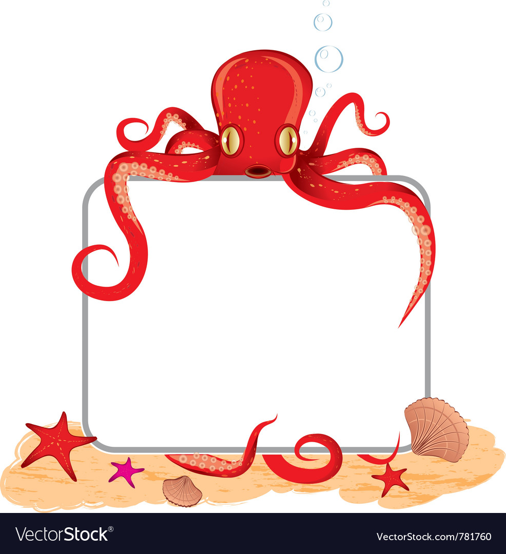Octopus holding a sign vector | Price: 3 Credit (USD $3)