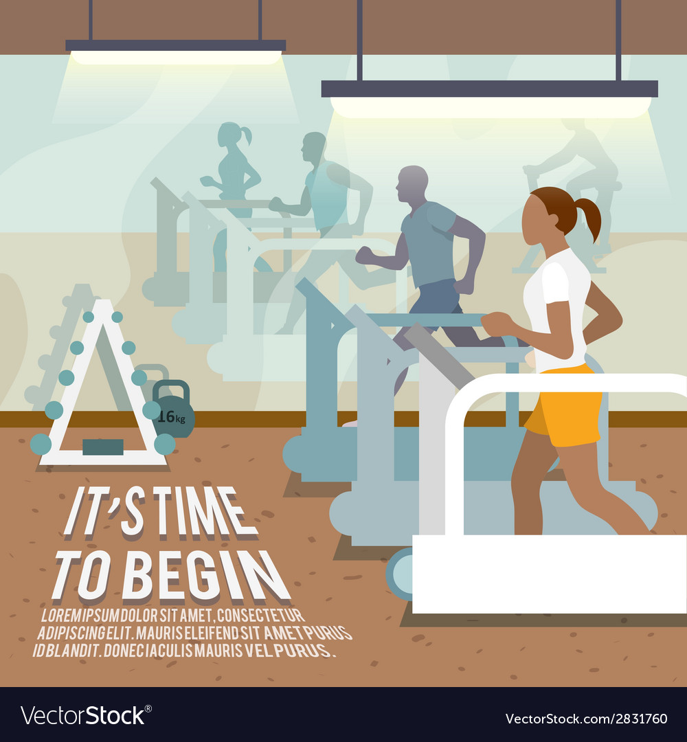 People on treadmills fitness poster vector | Price: 3 Credit (USD $3)