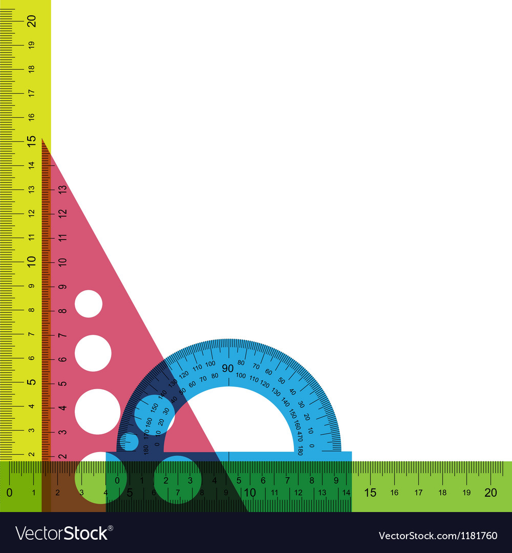Ruler protractor and triangle with simulated vector | Price: 1 Credit (USD $1)