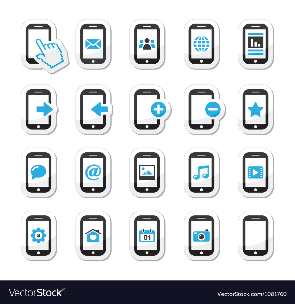 Smartphone mobile or cell phone icons set vector | Price: 1 Credit (USD $1)