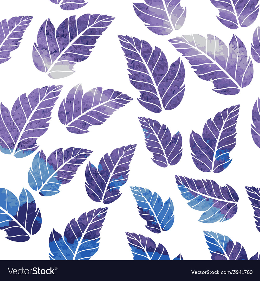 Watercolor seamless pattern on leaves theme vector | Price: 1 Credit (USD $1)