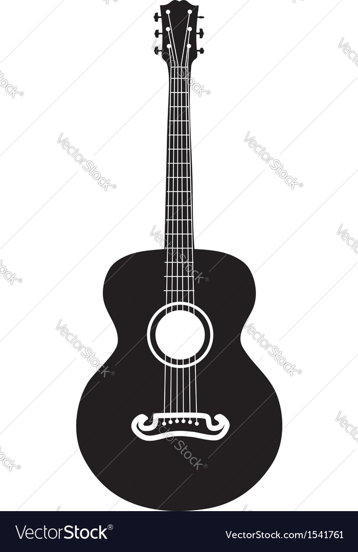 Acoustic guitar silhouette vector | Price: 1 Credit (USD $1)