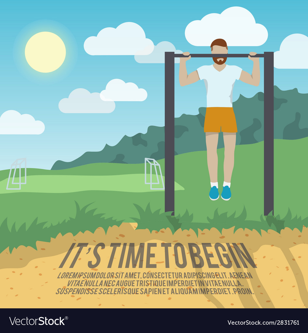Man on pull-up bar fitness poster vector | Price: 3 Credit (USD $3)