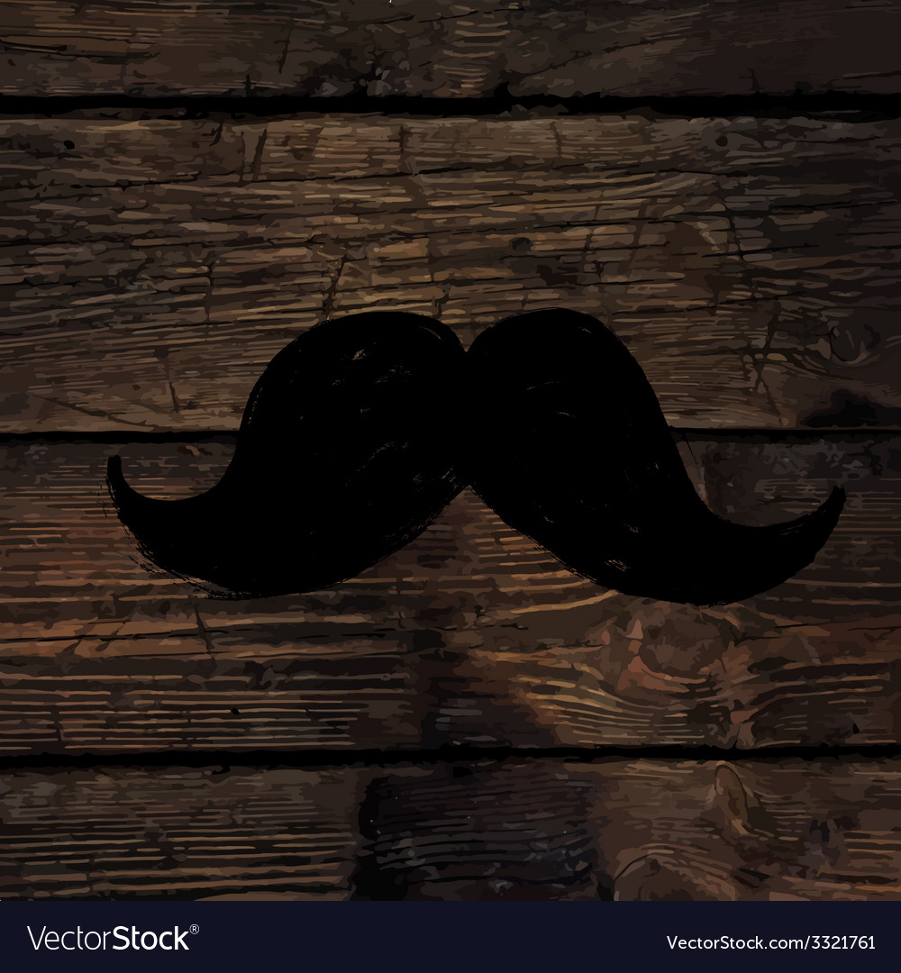 Moustache sign on wooden wall vector | Price: 1 Credit (USD $1)