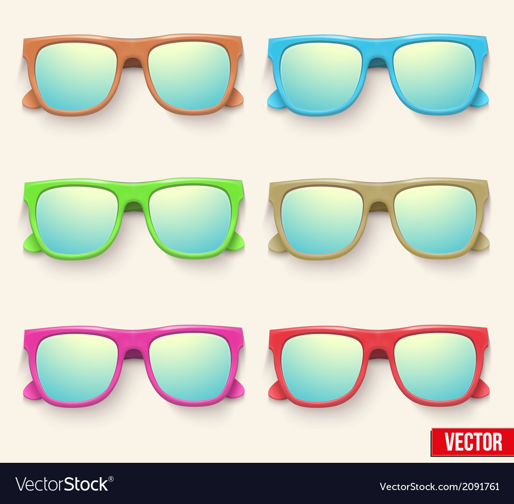 Set of vintage party sunglasses retro style vector | Price: 1 Credit (USD $1)