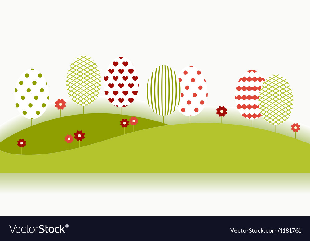 Summer garden landscape with red flowers vector | Price: 1 Credit (USD $1)