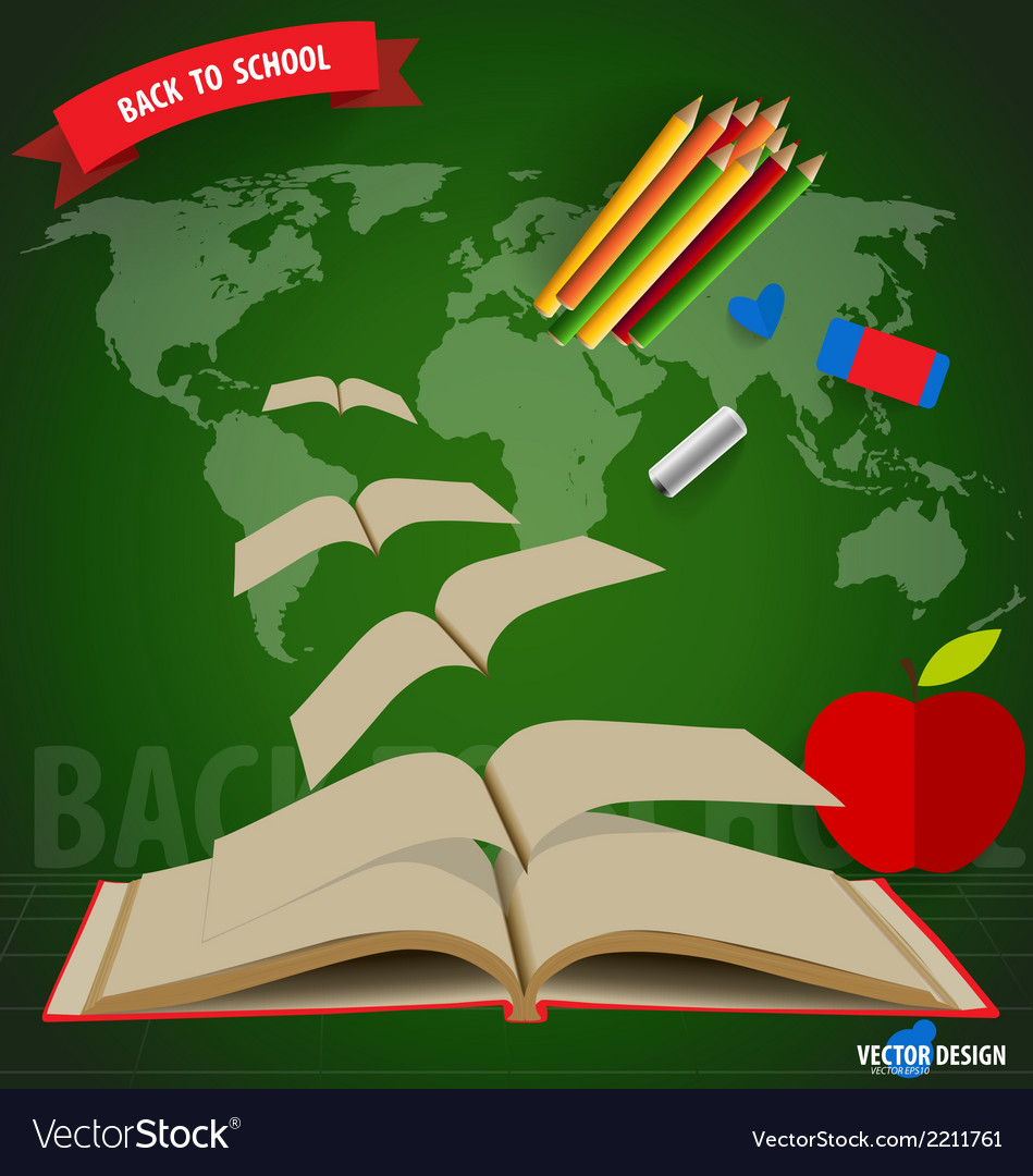 Welcome back to school opened flying books vector | Price: 1 Credit (USD $1)