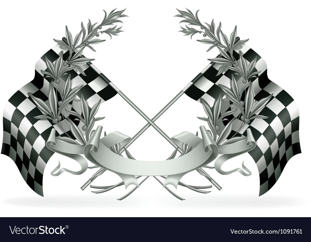 Wreath and racing flags vector | Price: 1 Credit (USD $1)