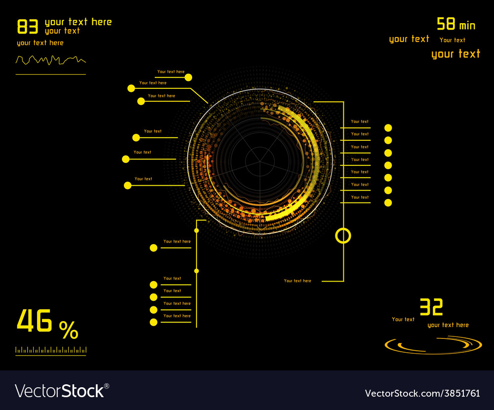 Yellow infographics as head-up display vector   Price: 1 Credit (USD $1)