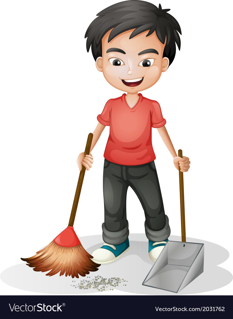 A boy sweeping the dirt vector | Price: 1 Credit (USD $1)
