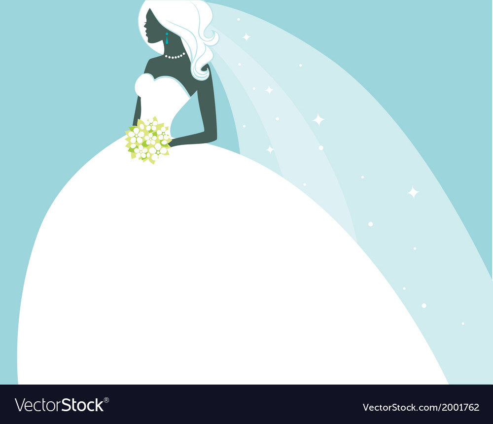 Beautiful bride in white dress vector | Price: 1 Credit (USD $1)