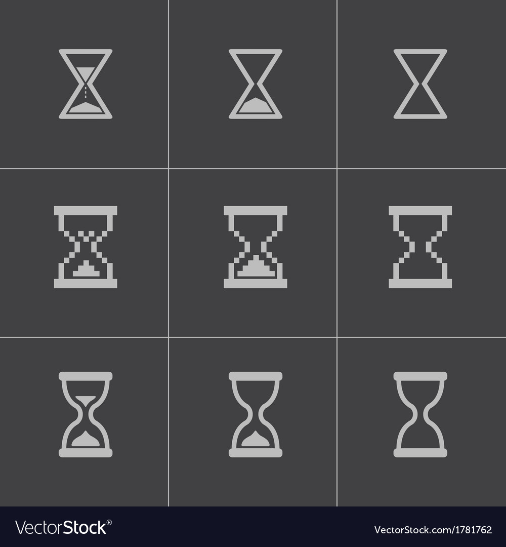 Black hourglass icons set vector | Price: 1 Credit (USD $1)