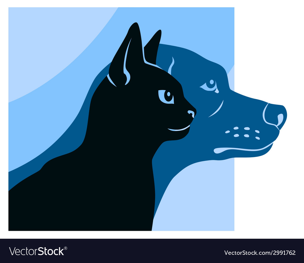 Cat and dog silhouettes square vector | Price: 1 Credit (USD $1)