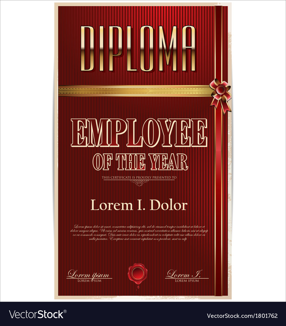 Diploma employee of the year vector | Price: 1 Credit (USD $1)