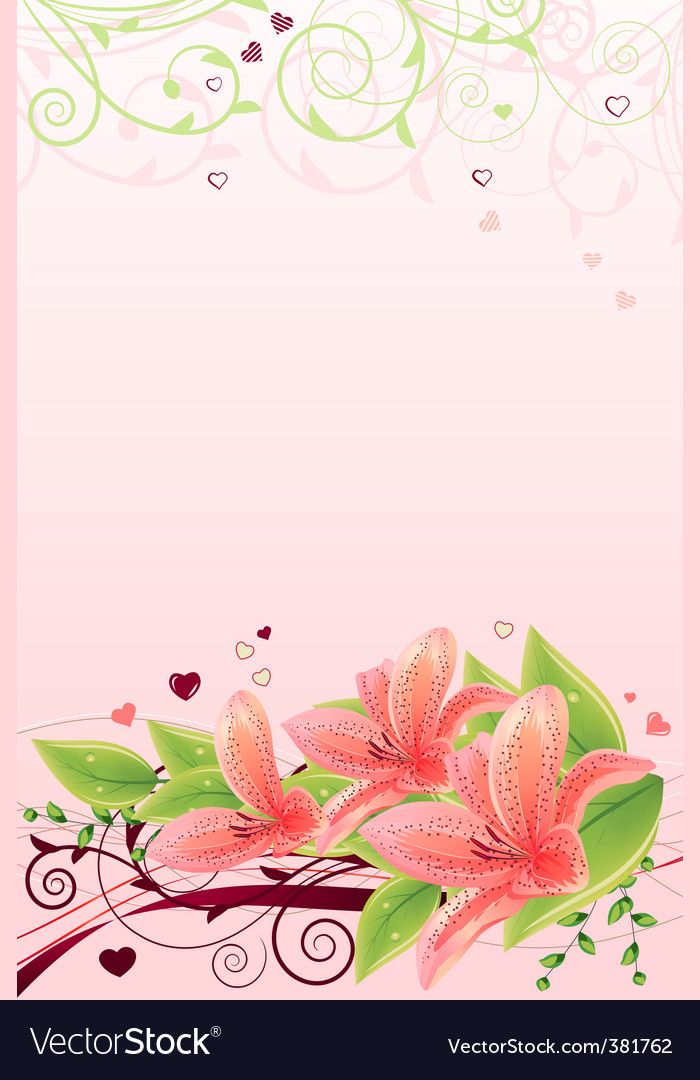 Frame with lilies vector | Price: 3 Credit (USD $3)